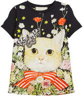 Gucci Short-Sleeve Cat in Garden T-Shirt, Size 4-12