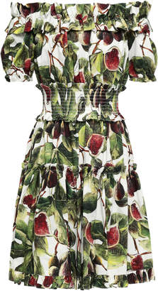 Dolce & Gabbana Off-the-shoulder Shirred Printed Cotton-poplin Dress