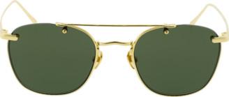Linda Farrow Brow Bar Round Sunglasses