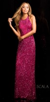 Scala Dazzling Open Back Prom Gown