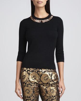 Kate Spade Avaline Bead-Collar Sweater, Black