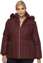 Details Plus Size Hooded Smocked Puffer Jacket