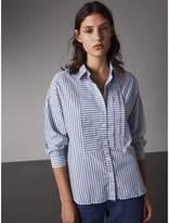 Burberry Pleated Bib Striped Cotton Shirt