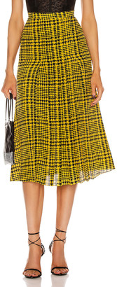 Alessandra Rich Pleated Silk Skirt in Yellow & Black | FWRD