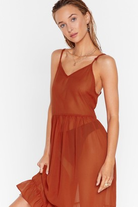 Nasty Gal Womens Cover-Up Maxi Dress with Ruffle Design at Skirt - Burnt Orange