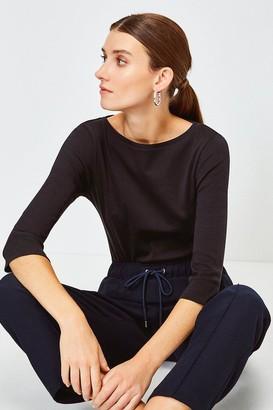 Karen Millen Essential Cotton Slash Neck 3/4 Sleeved Top