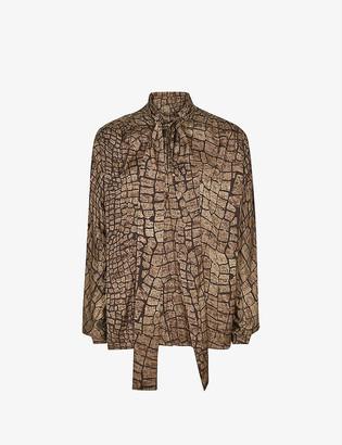 Reiss Jessie snakeskin-print crepe blouse