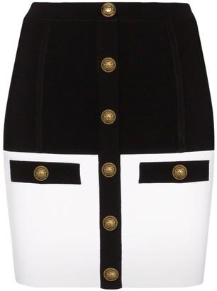 Balmain Black And White Knit Mini Skirt