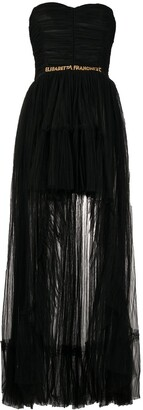 Elisabetta Franchi Tulle Ruched Detail Gown