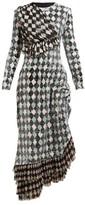Preen by Thornton Bregazzi Addison Diamond-print Sequinned Midi Dress - Womens - Black Multi