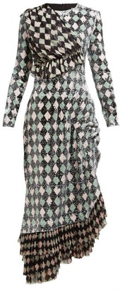 Preen by Thornton Bregazzi Addison Diamond-print Sequinned Midi Dress - Black Multi