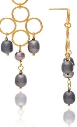 Rivka Friedman 18K Gold Clad 12x9mm Black Freshwater Pearl Bead Dangle Satin Earrings