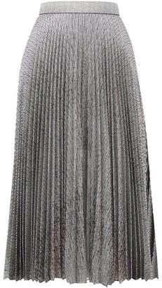 Christopher Kane Dna Pleated Metallic Tulle Midi Skirt - Womens - Silver