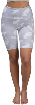 90 Degree By Reflex Lux Camo High Waisted Pocket Biker Shorts