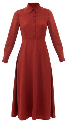 Cefinn Veronica Point-collar Voile Midi Dress - Burgundy