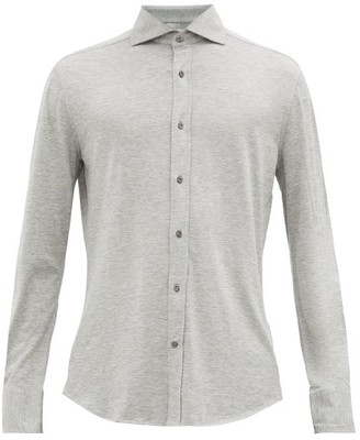 Brunello Cucinelli Spread-collar Silk-blend Long-sleeve Polo Shirt - Grey