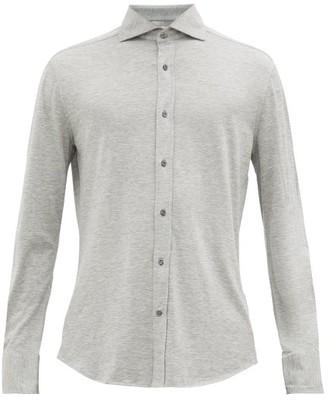 Brunello Cucinelli Spread-collar Silk-blend Long-sleeve Polo Shirt - Mens - Grey
