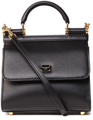 Dolce & Gabbana Black Leather Mini Sicily Bag