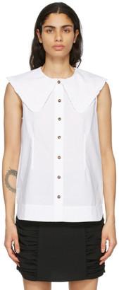 Ganni White Poplin Sleeveless Shirt