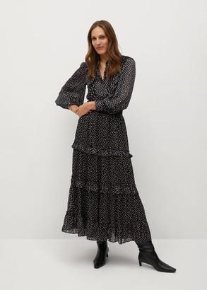 MANGO Printed skirt with ruffles