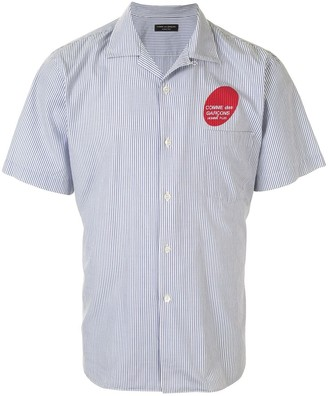 Comme Des Garçons Pre Owned Logo Print Striped Short-Sleeved Shirt