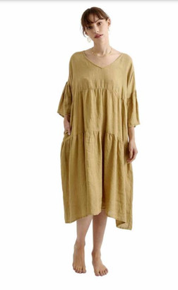 Zen Ethic - Linen Angele Dress - Bronze - linen | bronze | Large/Extra Large - Bronze