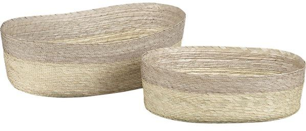 Crate & Barrel Evelise Grey Oval Baskets Set of Two