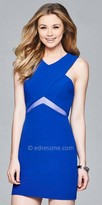 Faviana Illusion Inset Fitted Crepe Homecoming Dress