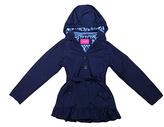 London Fog Navy Ruffle Tie-Waist Jacket - Girls