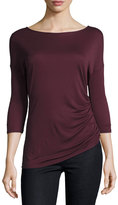 Three Dots Kylie 3/4-Sleeve Ruched Jersey Top, Vintage Wine