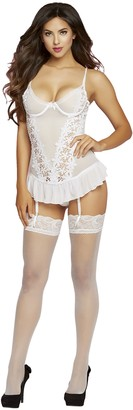 Seven Til Midnight SEVEN 'TIL MIDNIGHT Women's Two Piece Guipure Lace Bustier Set