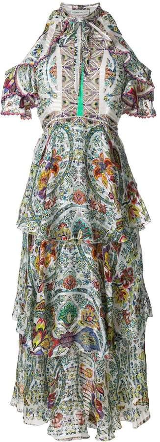 Etro printed ruffled cold shoulder dress