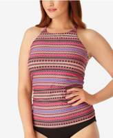 Anne Cole Plus Size Stevie Striped High-Neck Tankini Top