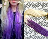 BestRoyalHair White Blonde and Purple Two Colors Indian Remy Cip in Curly Ombre Human Hair Extensions - 100% Human Hair RHS253 (18 inch)