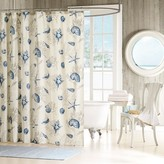 Nobrand No Brand Rockaway Starfish Print Cotton Sateen Shower Curtain - Blue