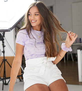 ASOS DESIGN Petite fitted top in lilac tonal tie dye