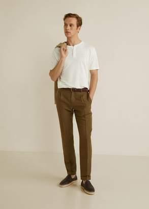 MANGO MAN - 100% linen Henley t-shirt white - XS - Men