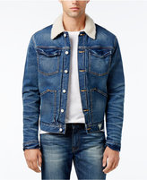 GUESS Men's Denim Jacket with Faux-Fur Collar