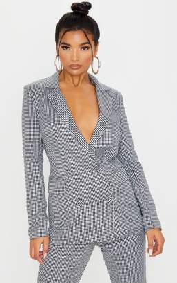 PrettyLittleThing Dogtooth Pocket Front Double Breasted Blazer