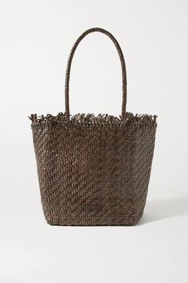 Loeffler Randall Maya Fringed Woven Leather Tote - Chocolate