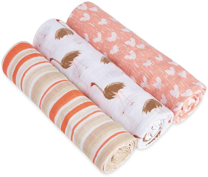Aden and Anais White Label Infant Girls' Flock Together Swaddles, 3 Pack