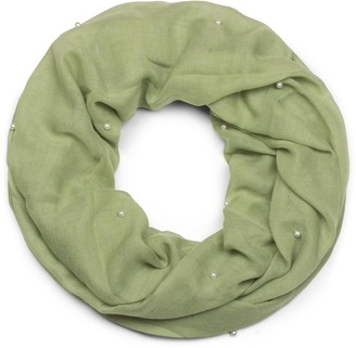 styleBREAKER plain-coloured light loop scarf snood studded with pearls scarf shawl women 01016168