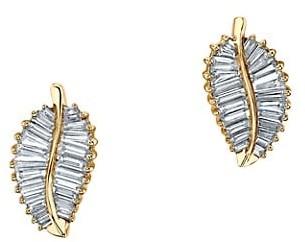 Anita Ko Leaf 18K Yellow Gold & Diamond Palm Leaf Stud Earrings