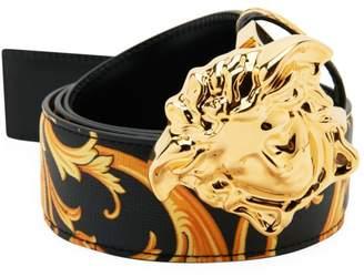 Versace Heritage Baroque Print Reversible Belt with Medusa Buckle