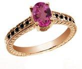 Gem Stone King 1.28 Ct Oval Pink Mystic Topaz Black Diamond 18K Rose Gold Ring