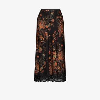 Paco Rabanne Floral-Print Lace-Trim Midi Skirt