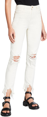 L'Agence High Line High-Rise Skinny Jeans with Knee Rip