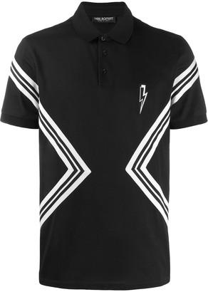 Neil Barrett contrast stripe polo shirt
