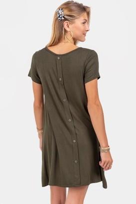 francesca's Sofia Button Back Knit Dress - Olive