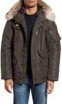 Parajumpers Men's 'Right Hand' Water Repellent Down Jacket With Faux Fur & Genuine Coyote Fur Trim